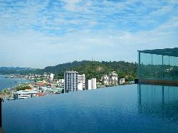 The Infinity Pool with nice view of the bay and waterfront below