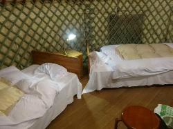 twin beds with crisp sheets all around the edge of the yurt