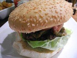 Beef burger with bacon and avacado