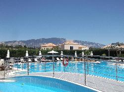 view of the pools with mountains in distance