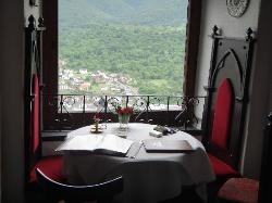 Our dining room table with a lovely view of the Rhine River