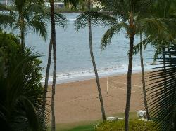 view of beach from room