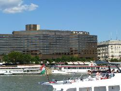 View of hotel from boat on the Danube