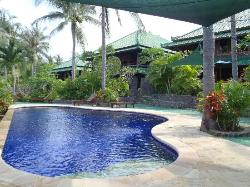 View of the pool and up to the villas
