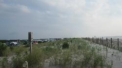 Standing on the dune that divides the ocean from the campground