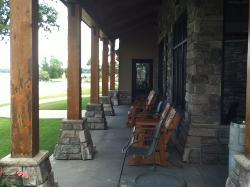 porch with view of lake