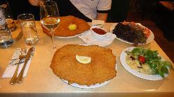 Schnitzel that overlaps the plate