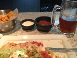 My solo meal with large Dos Equis and Burritos Especial