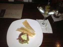 TB Tuna/guac app and classic martini