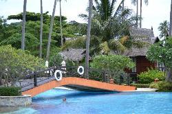 Petit pont traversant la piscine