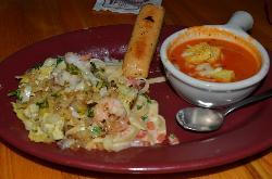 Tomato/Basil soup with Shrimp Fettucchine
