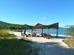 Shady area by beach. Meals can be taken here.