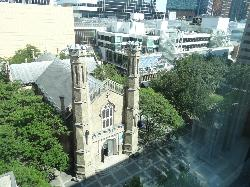 View from hotel of Holy Trinity Church & Eaton Centre