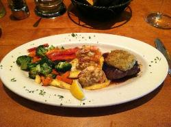 Crusted Sirloin with Lump Crab stuffed Shrimp