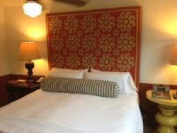 Each room has different suzani fabric headboard.