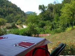 Blick von der Terrasse auf die Rocca von Garda