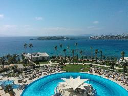Overlooking the pools and the bay