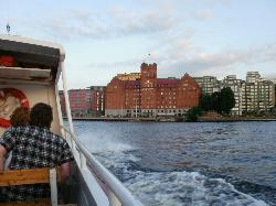 Approaching the hotel. Took a public transport boat from Strandvägskajen