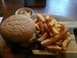 The burger,bun and chips