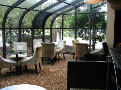 Rear of lobby seating for breakfast