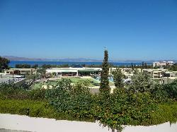view across hotel to sea and Turkey beyond