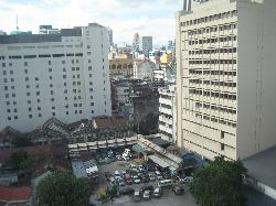 Overlooking parking for Petaling St and wet market.