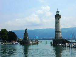 Lighthouse and Bavarian Lion Sculpture