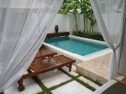 View from bathroom into private courtyard