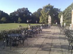 The beautiful terrace at the rear of the hotel