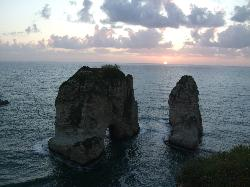 (Rawche) The Rock in Beirut at sunset