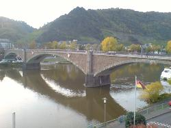 View of the bridge across River Mosel which you walk across to get to Cochem