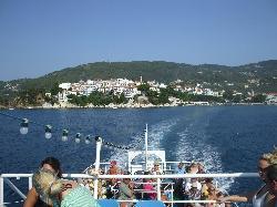 Island Views boat leaves Skiathos Town.