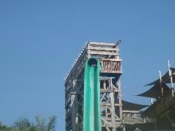 One of the many waterslides, an almost vertical drop