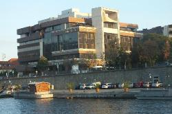 View of the President Hotel, Prague from the river boat