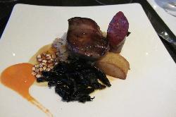 Clandeboye pigeon, chorizo in red wine,, saurkraut in cider, fondant potato