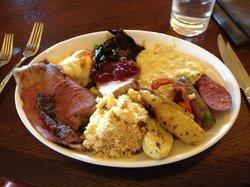 Prime Rib, mac n cheese, pork loin, potatoes, creamy corn, sausage, crab n potatoes