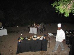 dinner set up in river bed