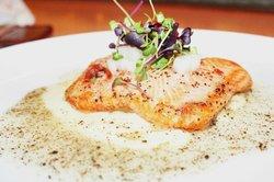 Morimoto's roasted ocean trout with turnip, miso, truffle and crispy prosciutto