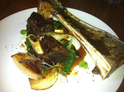 short ribs with bone marrow, turnip, kale and shallots, yum