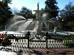 Forsyth Park Fountain at Christmas time