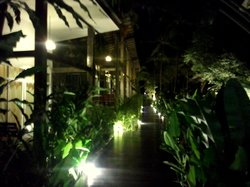 In front of the room at night