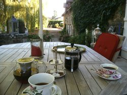 Tea and coffee on the terrace.