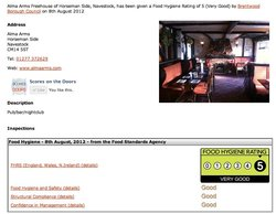 We have a top Food hygiene rating of 5