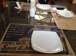 old movie posters as table mat