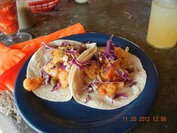 Fish Tacos at Cevicherea outside yum!