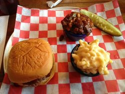 Brisket sandwich with mac-n-cheese and BBQ beans