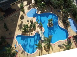 view of the swimming pool from the 14th floor of the Flamingo Oasis