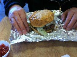 Small burger, greasy, soggy