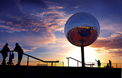 Blackpool's mirrorball on the promenade