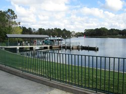 The dock behind the hotel where you can take the boat to Magic Kingdom